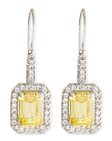 Fantasia by DeSerio Emerald-Cut Canary Cubic Zirconia Drop