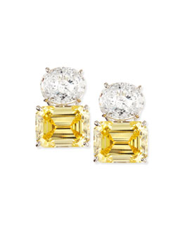 Fantasia by DeSerio White Oval & Canary Emerald-Cut Stud Earrings