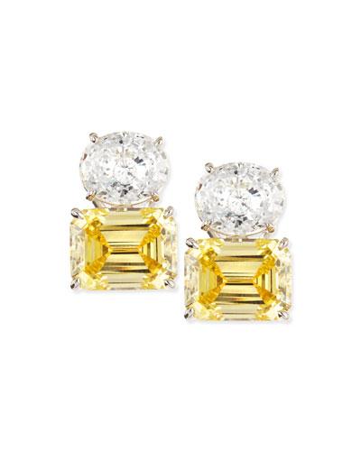White Oval & Canary Emerald-Cut Stud Earrings