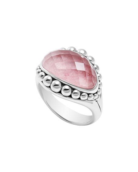 Silver Maya Rhodochrosite East-West Dome Caviar Ring