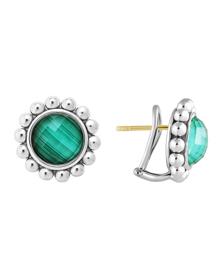 Silver Maya Malachite Large Caviar Stud Earrings