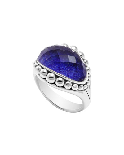 Lagos Silver Maya Lapis East-West Dome Ring