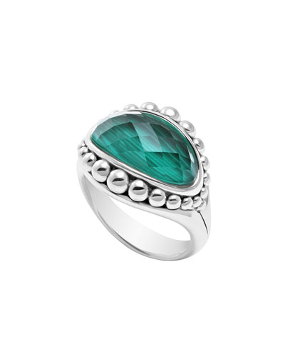 Lagos Silver Maya Malachite East-West Dome Ring
