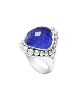 Lagos Silver Maya Lapis North-South Dome Ring