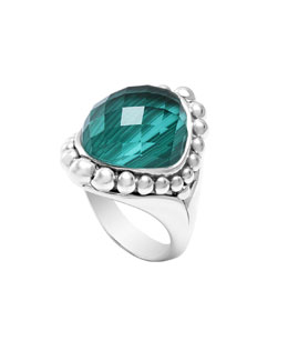 Lagos Silver Maya Malachite North-South Dome Ring