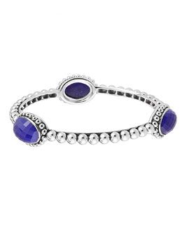Lagos Silver Beaded Maya Lapis Medium Bangle