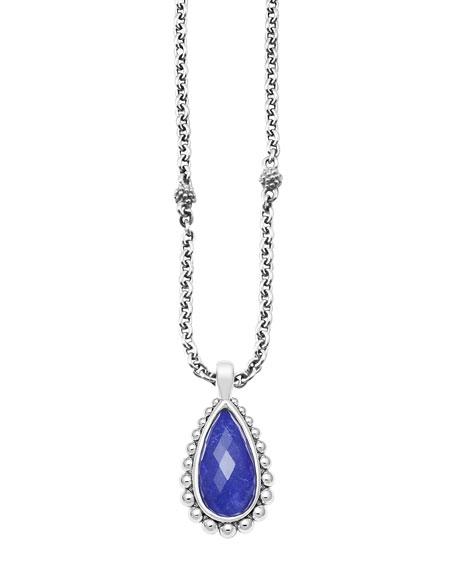 Silver Beaded Maya Lapis Teardrop Pendant Necklace