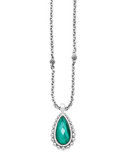 Lagos Silver Beaded Maya Malachite Teardrop Pendant Necklace