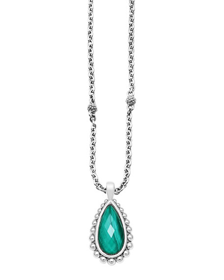 Silver Beaded Maya Malachite Teardrop Pendant Necklace