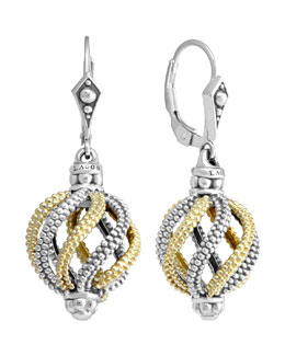 Lagos Silver & 18k Gold Soiree Circular Swirl Drop Earrings
