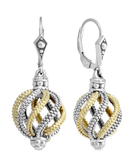 Silver & 18k Gold Soiree Circular Swirl Drop Earrings
