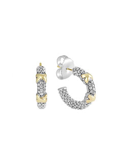 Lagos Silver & 18k Diamond Lux Hoop Earrings
