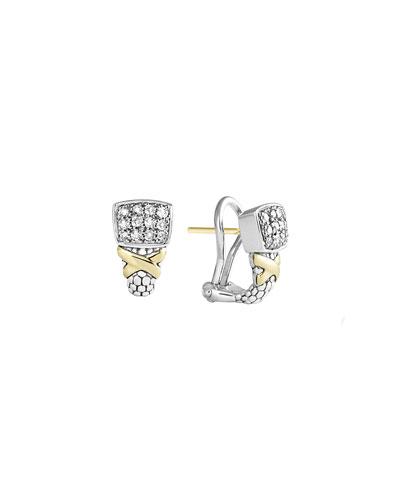 Lagos Silver & 18k Diamond Lux Small Earrings