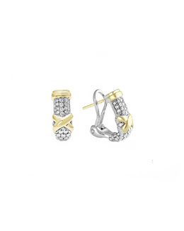 Lagos Silver & 18k Diamond Lux Half-Hoop Earrings