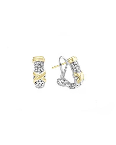 Lagos Silver & 18k Diamond Lux Half-Hoop Earrings
