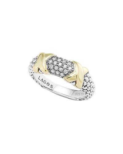 Lagos Silver & 18k Diamond Lux Ring, 6mm