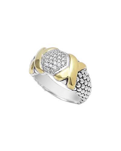 Lagos Silver & 18k Diamond Lux Ring, 10mm