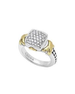 Lagos Silver & 18k Diamond Lux Pave Cushion Ring