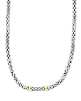 "Lagos Silver & 18k Diamond Lux Beaded Necklace, 16""L"
