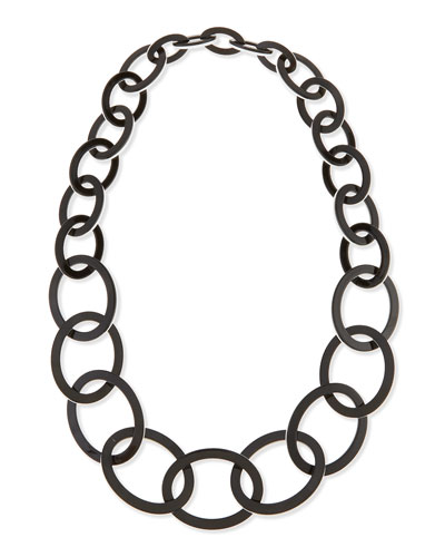 Enamel Oval Link Necklace, Black/White