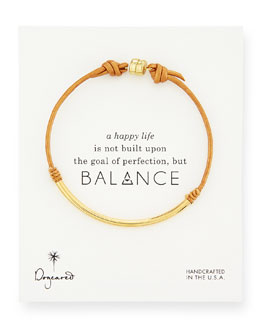 Dogeared Balance Tube Leather Cord Bracelet, Honey