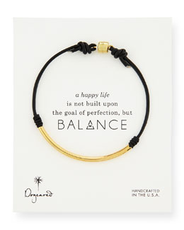 Dogeared Balance Tube Leather Cord Bracelet, Black
