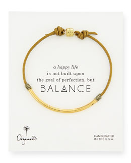 Dogeared Balance Tube Leather Cord Bracelet, Moss