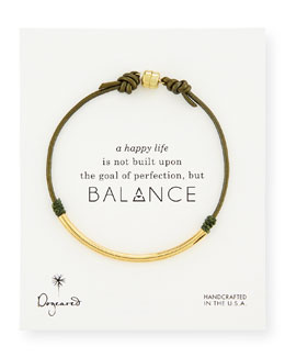 Dogeared Balance Tube Leather Cord Bracelet, Evergreen