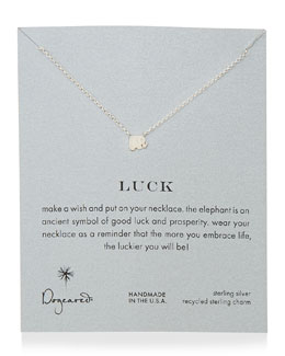 Dogeared Luck Elephant Pendant Necklace, Sterling Silver
