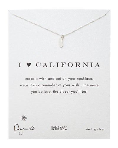 Dogeared I Heart California Pendant Necklace, Sterling Silver