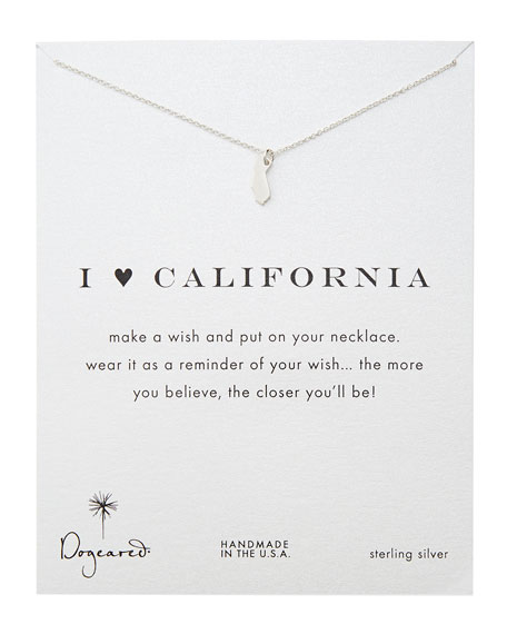I Heart California Pendant Necklace, Sterling Silver