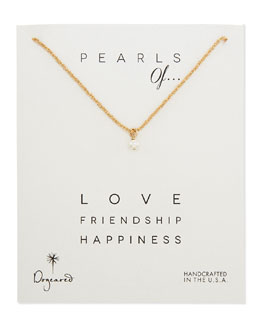 Dogeared Love Gold-Dipped Sparkle Chain Pearl Pendant Necklace