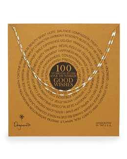 "Dogeared 100 Good Wishes Gold Vermeil Bar Necklace, 33""L"