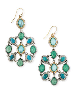 Alexis Bittar Chrysocolla & Crystal Mosaic Dangle Earrings