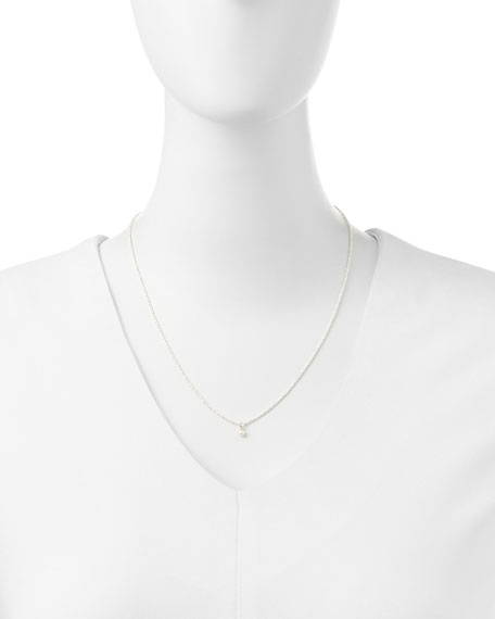 Love Silver Sparkle Chain Pearl Pendant Necklace