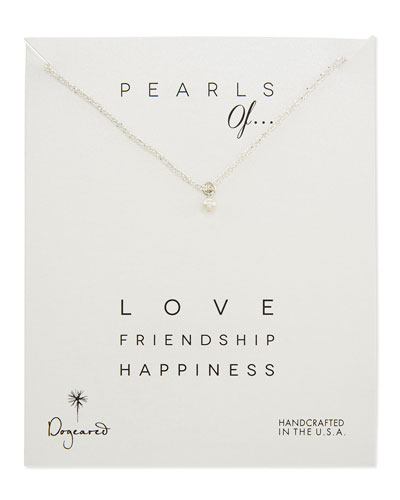 Dogeared Love Silver Sparkle Chain Pearl Pendant Necklace