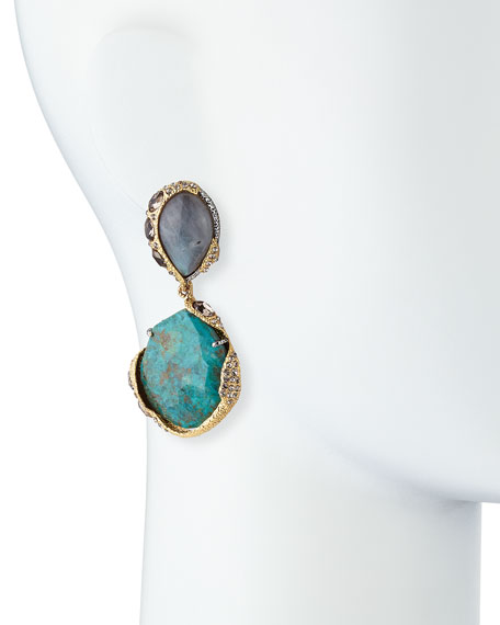 Encrusted Vine Labradorite & Chrysocolla Clip-On Earrings