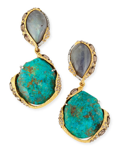 Alexis Bittar Encrusted Vine Labradorite & Chrysocolla Clip-On Earrings