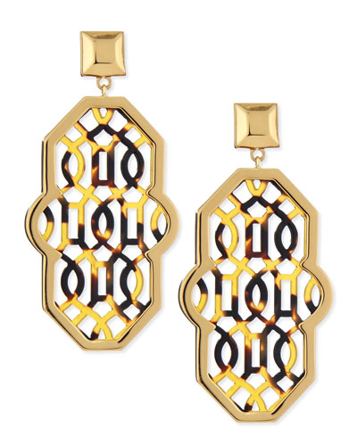 Tory Burch Chantal Perforated-Tortoise Earrings