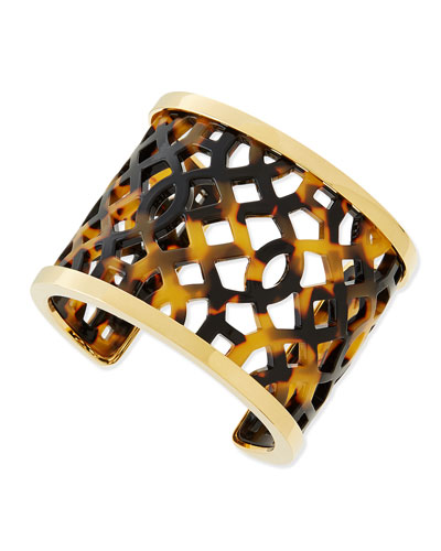 Tory Burch Chantal Perforated Tortoise Acetate Cuff