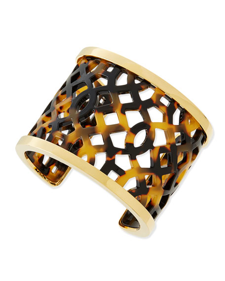 Chantal Perforated Tortoise Acetate Cuff
