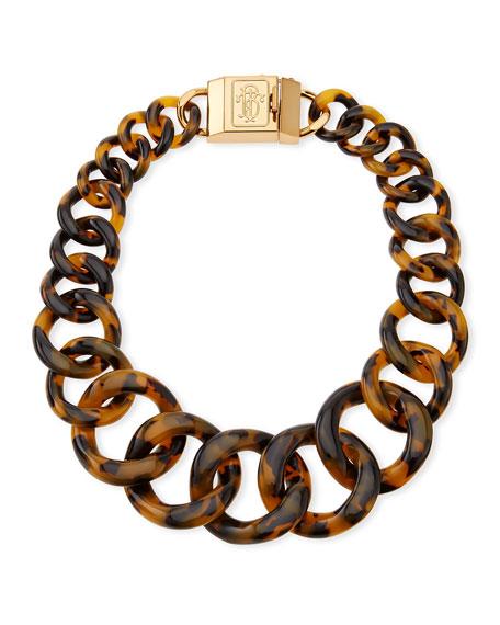 Monogram Tortoise Resin Chain Necklace