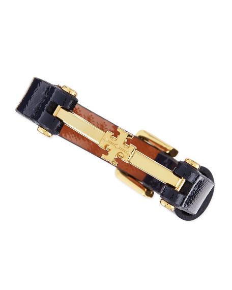Penelope Logo Leather Bracelet, Navy Blue