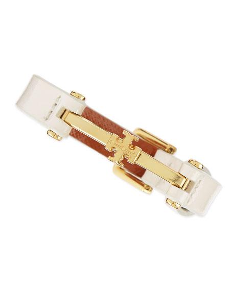 Penelope Logo Leather Bracelet, Bleach White