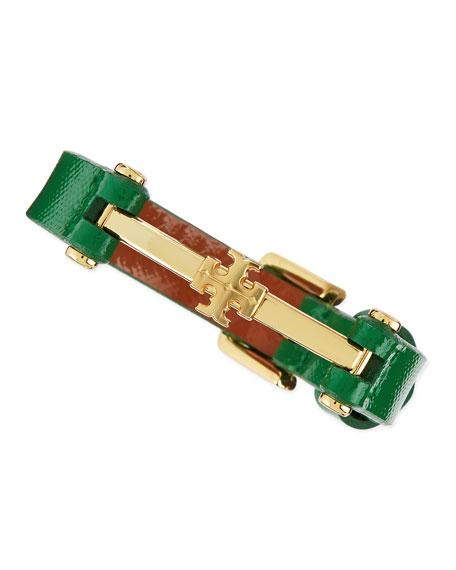 Penelope Logo Leather Bracelet, Emerald Green
