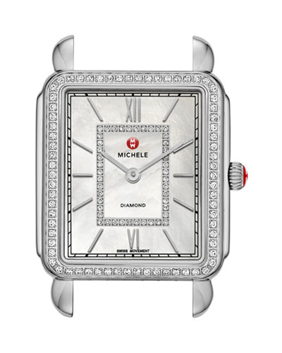 MICHELE Deco II Diamond Dial Watch Head, Steel