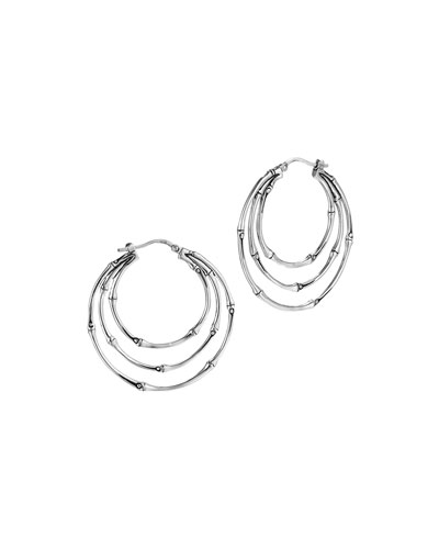 John Hardy Bamboo Silver Small Side Facing Orbital Hoop Earrings