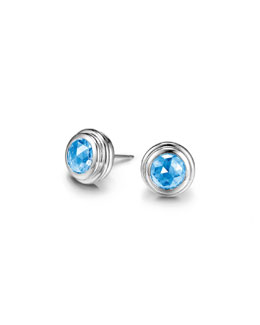 John Hardy Batu Bedeg Swiss Blue Topaz Stud Earrings