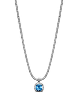 "John Hardy Batu Classic Chain London Blue Topaz Pendant Necklace, 16""L"