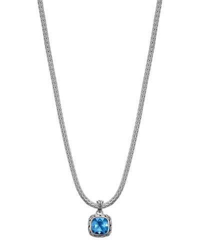 "John Hardy Batu Classic Chain London Blue Topaz Pendant Necklace, 16""L"